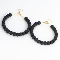 Black Wood Wire Hoop Earrings by JewelsByCrys on Etsy, $14.00