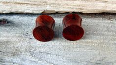 "12.5mm Deep Red Redwood burl ear plugs,  Organic Beautiful hand crafted redwood plugs in 1/2"" gauge by MustLoveWoodPlugs on Etsy"