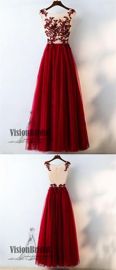 Dark Red Rhinestone Tulle A-Line Prom Dress, Zipper Up Floor Length Prom Dress, Charming Prom Dress, VB0215 #promdress