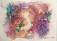 Original painting Butterflies Grape Vineyard Art Artwork USA Direct From Artist #Realism Watercolor Mixing, Watercolor Paper, Sunset Art, Original Paintings, American Artists, Grape Vineyard, Butterfly, Original Art For Sale, Artwork