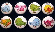 Set of 8 SWEET LiTTLE BIRDS with CRoWNS by dreamscapedesigns