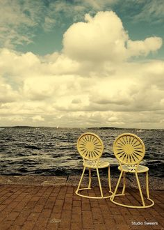 Union Terrace Seats for Two // Madison Wisconsin Photography // Midwest Art, Oh The Places You'll Go, Great Places, Monona Terrace, Madison Wisconsin, University Of Wisconsin, Mellow Yellow, Great Pictures, Summertime, Beautiful