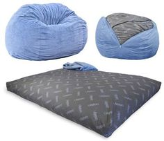 CordaRoy's – Slate Chenille Beanbag Chair – Full Sleeper #beanbag #beanbagchair Sized at 42 by 42 by 32 inches, this 36-pound chair can be converted to a full-sized bed. It also comes with a full bed insert and a full chair cover. One adult can take a seat in it while two adults can sleep in it. It has a patented full bed inside and also comes with a washable and dryable cover, which is changeable.