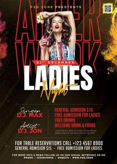 Download the Free Ladies Party Night Flyer PSD Template! - Free Club Flyer, Free Flyer Templates, Free Party Flyer - #FreeClubFlyer, #FreeFlyerTemplates, #FreePartyFlyer - #Club, #DJ, #Electro, #Ladies, #Music, #Night, #Nightclub, #Party