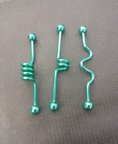 Green Industrial Barbell 14G