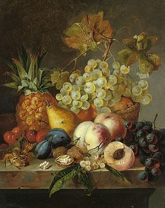 Edward Ladell - Fruit and Nuts on a Ledge - 19th century