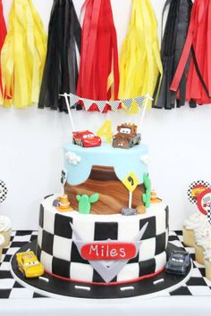 What Fun At This Bright And Cheery Llama Birthday Party The Rock Birthday, Llama Birthday, 3rd Birthday, Cars Birthday Parties, Birthday Ideas, Lightning Mcqueen Cake, Movie Cakes, Disney Cars Party, Fun Cupcakes