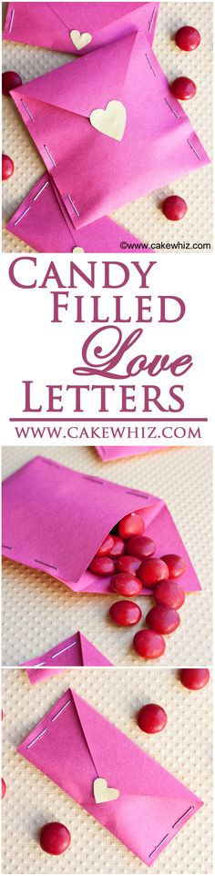 These candy filled LOVE LETTERS are perfect for Valentine\'s day. Fill them with candies, cute poems or even confetti! Fun and easy craft to do with the kiddos. From cakewhiz.com