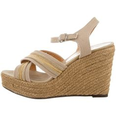 Pre-owned Castaner Espadrille Wedge Sandals ($75) ❤ liked on Polyvore featuring shoes, sandals, neutrals, beige shoes, wedge shoes, wedge sandals, castaner shoes and espadrilles shoes