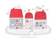 Three Houses - Print