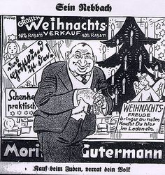 """""""Grosser Weihnachts verkauf""""trams.'Big business at Christmas'.For unscrupulous Jewish businesses(foreground)1930s.Germany.(Isn't that Bob Hoskins?)"""
