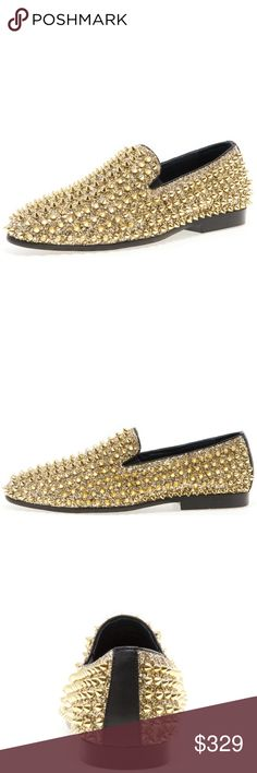 Jump NewYork Luxor Gold Loafers Material: Textile & Leather Upper  Sole: Rubber  Imported Leather Lining Rubber Sole, Non-Skid Outsole Round Toe Slip-On Smoking Slipper Dress Loafers Glitter & Metallic Spike Ornament Detail Twin Side Gore Feature Jump Shoes Loafers & Slip-Ons