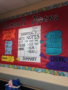 """""""a huge bulletin board at isb showing what a cornell notes look like. 8th Grade Ela, 8th Grade Science, 5th Grade Classroom, Social Studies Classroom, History Classroom, Science Classroom, Teaching Science, Teaching Reading, Classroom Decor"""