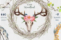 Big Watercolor Collection Woodland by Watercolor Nomads on Creative Market