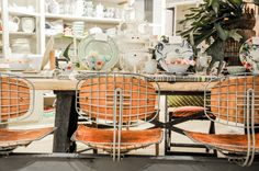 Anthropologie Los Angeles, wire stools, vintage interior, eclectic style