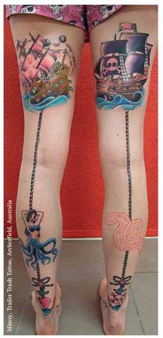 Cool nautical tattoo theme