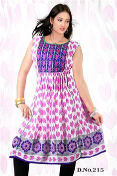 Elegant personality with new SIXMETER White Pink #Casual Wear #Anarkali Style #Kurti for lovely lady.