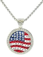 New! U.S. Flag Magnetic Crystal Ball Marker Necklace by Navika USA. Necklace fits all of our 25 mm size ball markers - wear a different one each day!