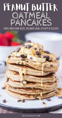 Peanut Butter Oatmeal Pancakes are perfect quick breakfast that your family will love. These oatmeal pancakes are made with simple ingredients and WITHOUT ADDED SUGARS, packed with incredible flavor. So delicious and super easy to make! ------- #peanutbutterpancakes #pancakes #pancakeslover #recipes #breakfast #breakfasttime #healthybreakfast #healthyeats #pancakestack #healthypancakes #pancakesforbreakfast