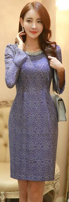 StyleOnme_Jeweled Neckline Bell Sleeve Lace Dress #purple #lace #autumnlook…