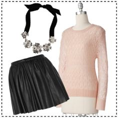 Alice + Olivia Louise Pleat Skirt, Kate Spade Meadowsweet Bib Necklace, LC Lauren Conrad Pointelle Sweater