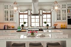 Studio M Interiors - kitchens - Regina Andrew Large Globe Pendant, double kitchen islands, glass globe pendants, white carrera marble, carre...