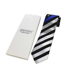 8aa697a356cc8 JEMYGINS Original 100% Silk Thin Blue Line Striped American Flag Star Mens  Necktie Superior Quality Tie Business Party