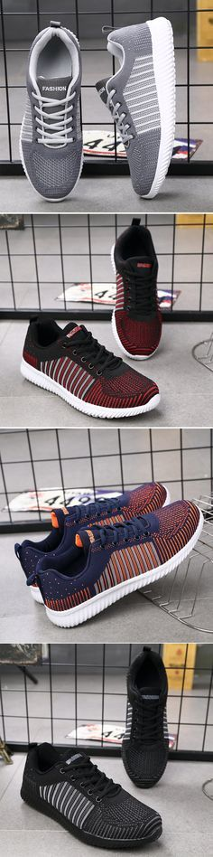 Men Mesh Breathable Lightweight Lace-Up Walking Comfortable Casual Shoes