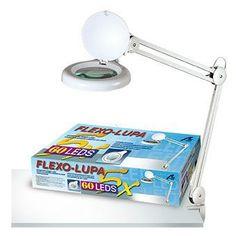 Flexo ideal para banco de trabajo para actividades de precisión.Lupa de 10 cm de diámetro y cinco aumentos.Luz con  diodos LED de alta luminosidad.Lacada en blanco. See more details at http://www.lacasadelocio.es/tienda-online/lupas.html