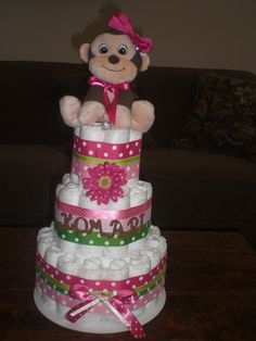 baby girl shower diaper cakes | Monkey Girl Diaper Cake Baby Shower Centerpieces Gift other sizes too