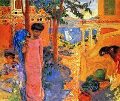 Woman with Parrot - Pierre Bonnard - 1910