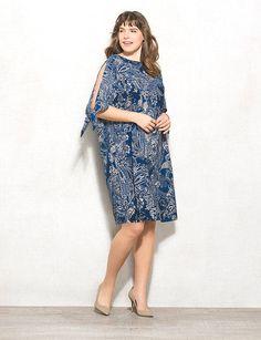 Plus Size Paisley Cold-Shoulder Knit Dress