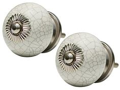 SouvNear Set of 2 Interior Round Knobs and Pulls for Cabinet / Girls Dresser / Kids Cupboard / Kitchen Drawer Handles with Hardware Attached - Ceramic White Decorative Hand Painted Antique Door Knobs SouvNear http://www.amazon.com/dp/B00YBX1UOC/ref=cm_sw_r_pi_dp_.8m9vb02E8DKK