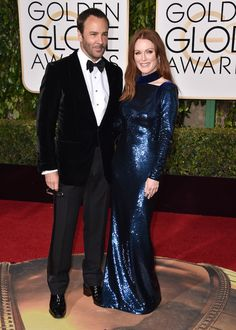Best red carpet accessory: Tom Ford. Julianne Moore at Golden Globes 2016