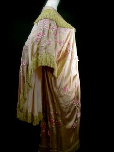 Edwardian B. Altman & Co. Japanese Silk Fringe Kimono Robe, Vintage - Antique Tea Dressing Gown c. 1918