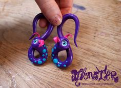 8mm Monster Eyeball Ear Taper / stretcher PAIR Blue by gingerface, £19.00