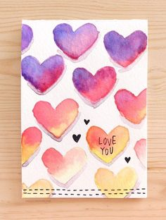 DIY Valentines Day Cards - Easy DIY Valentine's Card With Minimal Supplies - Eas. Handmade Gifts Romantic DIY Valentine& Day Cards, DIY Craft Ideas for Valentine& Day, Valentine& Day . Easy DIY Valentine's Day Card Made by Kristina Werner using simple wat Valentines Day Cards Handmade, Valentine Day Crafts, Homemade Valentine Cards, Handmade Cards For Boyfriend, Printable Valentines Day Cards, Kids Valentines, Watercolor Heart, Watercolor Cards, Watercolour