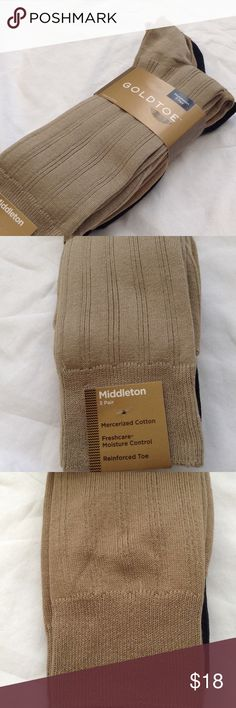 Goldtoe Middleton 3-Pair Men's Socks New, never worn. Men's Goldtoe socks in the Middleton dress rib style. Sock size 10-13. Two tan/beige and one black. Comes from a smoke-free home. Gold Toe Underwear & Socks Dress Socks