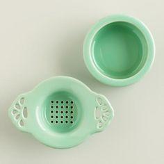Cost Plus World Market, Aqua Ceramic Tea Strainer, $5