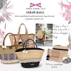 Straw bags for casual or chic ethnic look! Traditional Baskets, Ethnic Looks, Basket Bag, Fashion Story, Spring Summer 2016, Summer Looks, Straw Bag, Chic, Casual