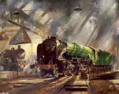Trains from Alan Fearnley Train Posters, Railway Posters, Uk Rail, Train Drawing, Steam Art, Trains, Steam Railway, Train Art, British Rail