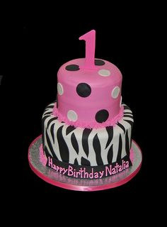 1st birthday pink and black zebra print birthday cake by Simply Sweets, via Flickr
