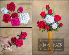 Crochet Flower Pattern Bundle - Crochet Rose Patterns for Bouquet, Decoration, Hair and Brooches  - Valentine's Gift Idea