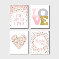 Set of Prints Baby Girl Nursery Prints Dream Big Little One Print You Are So Loved Print Pink Gold Nursery Decor Girl Birthday Decorations Pink Gold Nursery, Gold Nursery Decor, Mint Nursery, Baby Girl Nursery Decor, Baby Prints, Nursery Prints, Nursery Wall Art, Nursery Quotes, Bedroom Wall