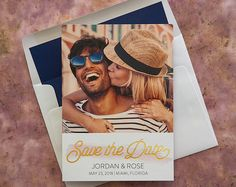Watercolor Swatch Save The Date Announcements - Digital and Foil  Photo Save The Dates - - Wedding Announcements - AA6610