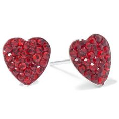 Belk Silverworks Red Sterling Silver Red Pave Crystal Heart Stud... ($12) ❤ liked on Polyvore featuring jewelry, earrings, red, button earrings, crystal heart earrings, heart earrings, clear crystal earrings and clear stud earrings