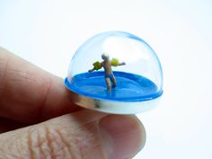 Summer time. Swimmer resin ring. Pool ring. Sterling silver ring. Modern Jewelry. resin jewelry. snow globe ring, funny ring