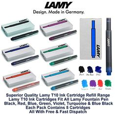 Lamy T10 Green Fountain Pen Ink Cartridges Refills Replacement Spare For All Lamy Fountian Pens Pack Of 5-25 Ink Cartridges