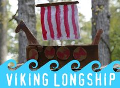 "My who is in third grade has been studying Vikings and one of the ""enrichment ideas"" sent home from school was to make a Viking Longship. Reid has History Activities, Hands On Activities, Kindergarten Activities, My Father's World, Story Of The World, Viking Longship, Dragon Birthday Parties, Cultural Crafts, World Crafts"
