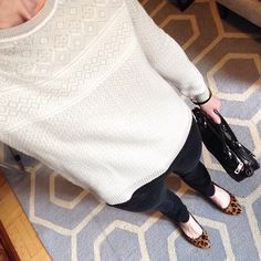 Instagram @headedoutthedoor #ootd || #gap sweater | #jcrew denim and bracelet | #madewell flats | #marcjacobs bag via #Bloomingdales | #hm bracelet